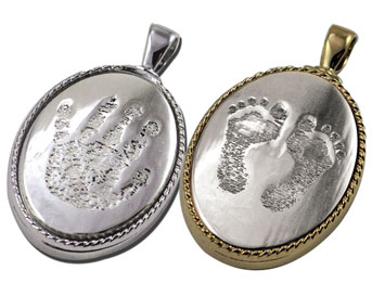 Cavity Pendant with Life Print Footprint/Handprint