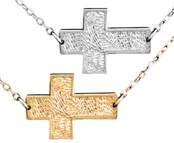 "Horizontal Cross Life Print with 16"" Chain"