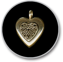 14K Gold Heart Antique Insert Pendant